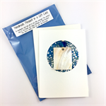 Shell pendant in a gift card- white and blue, Christmas, birthday, thank you