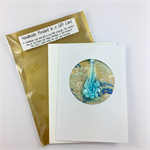 Glass pendant in a gift card- blue floral, Christmas, birthday, thank you