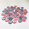50 x Pearly Top Buttons | 20 mm Diameter | Peach | Blue | Plastic | 2 Holes