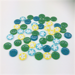 50 x Buttons | 16 mm | 18 mm | Teal | Green | Yellow | Turquoise | Plastic
