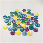 50 x Polkadot Buttons | 18 mm | Yellow | Teal | Maroon | Blue | Green | Plastic