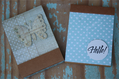 2 Kraft Notebooks ~ DIY Notebooks ~ Christmas Gift DIY ~ Grid Lines