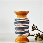 Navy and Red Border Stripe Twill Ribbon | French Stripe Cotton Ribbon Trim