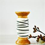 Cream and Black Stripe Twill Ribbon | French Stripe Cotton Ribbon Trim