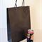 40x MEDIUM Black Kraft Paper CARRY BAGS w/ Handles - 26(w) x 35(h) x 9.5(g) cm
