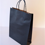 20x MEDIUM Black Kraft Paper CARRY BAGS w/ Handles - 26(w) x 35(h) x 9.5(g) cm