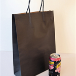 40x MEDIUM Black Kraft Paper CARRY BAGS w/ Handles - 26(w) x 35(h) x 9.5(g) cm