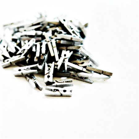 Silver Mini Pegs {25} | Mini Wood Pegs | Gift Wrap Scrapbooking | Embellishments
