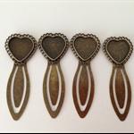 Bronze Heart Setting Bookmark Clip x 4pcs