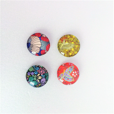 Cabochon beads, glass, flat backed, vintage Japanese collage prints, 25mm