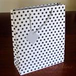 9x MEDIUM Black/White Polka Dot Paper GIFT BAGS w/Cord Rope Carry Handles - BULK