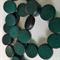 15mm Flat Round Wooden Beads Dark Green