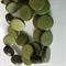 15mm Flat Round Wooden Beads Bottle Green