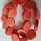 15mm Flat Round Wooden Beads Orange
