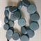 15mm Flat Round Wooden Beads Steel Grey Blue