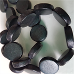 15mm Flat Round Wooden Beads Black