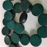 15mm Flat Round Wooden Beads Dark Green