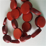 15mm Flat Round Wooden Beads Burnt Orange