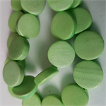 15mm Flat Round Wooden Beads Lime Green