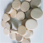 15mm Flat Round Wooden Beads