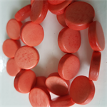 15mm Flat Round Wooden Beads Orange