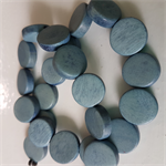 15mm Flat Round Wooden Beads Steel Grey Blue