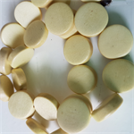 15mm Flat Round Wooden Beads Pastel Light Yellow