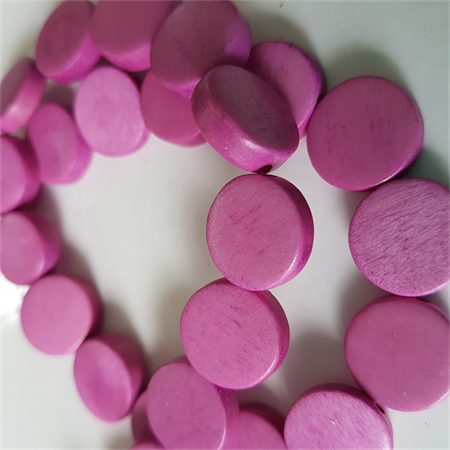 15mm Flat Round Wooden Beads Pink