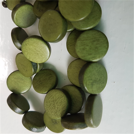 15mm Flat Round Wooden Beads Bottle Green