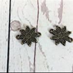 Bracelet or necklace connectors, antique bronze daisy.