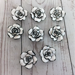 Beads, large white and black polymer clay roses.