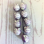 Beads, ceramic porcelain, purple and white owls.