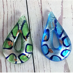 Pendants, glass, blue and green.
