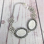 Bracelet, blank silver cabochon chain and fancy connectors.