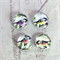 Cabochon beads, glass, birds