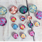 Beads, cabochons, floral flat backs.