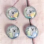 Cabochon beads, glass, koala flat backed