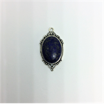 Pendant, antique silver with oval Lapis Lazuli Gem Stone.