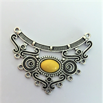 Pendant, necklace,silver bib, connector with yellow stone