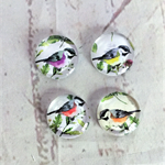 Cabochon beads, glass, birds
