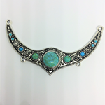 Pendant, silver and turquoise