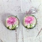 Cabochon beads, glass Australian waratah floral flat backed.