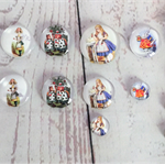 Cabochons beads, glass, Alice in wonderland flat backed.