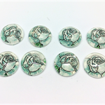 Cabochon beads, glass, green and white roses flat backed.