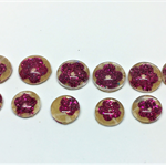 Cabochon beads, glass, pink sparkley flowers flat back.