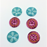 Cabochon beads, glass, blue and pink patterned flat back.