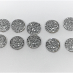 Cabochon beads, glass, silver sparkely flat backed.