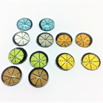Cabochon beads, glass, yellow, blue, beige, white and green flat back.