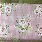 Fabric 150cm Cotton Spots/ Roses/Green Flowers