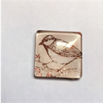 Cabochon beads, glass, square flat backed, birds.